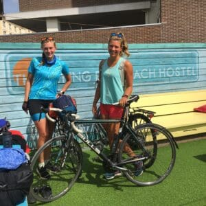 girls bikepacking Holland